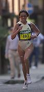London Marathon, London, GREAT BRITAIN, location, Isle of Dogs. Race No. 103 LUDMILA. PETROVA. RUS, Narrow Street. E1. © Peter Spurrier/Intersport Image/+447973819551