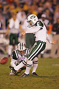 SAN DIEGO, CA - JANUARY 8:  Kicker Doug Brien #6 of the New York Jets kicks the first of two field goals against  the San Diego Chargers at Qualcomm Stadium on January 8, 2005 in San Diego, California. The Jets defeated the Chargers 20-17 in overtime in the AFC Wild Card Game. ©Paul Anthony Spinelli  *** Local Caption *** Doug Brien