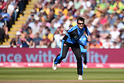 Daryl Mitchell of Worcestershire Rapids bowling during the Vitality T20 Finals Day 2019 match between Notts Outlaws and Worcestershire Rapids at Edgbaston, Birmingham, United Kingdom on 21 September 2019.