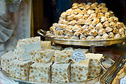 Torrone nougat and biscuits in shop window of luxury patticeria, caffe Gilli, established in 1733 in Florence, Tuscany, Italy RESERVED USE - NOT FOR DOWNLOAD - FOR USE CONTACT TIM GRAHAM