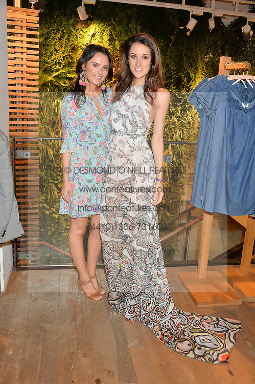 Left to right, sisters VENETIA FALCONER and ROSANNA FALCONER at a party to celebrate the launch of Matthew Williamson: Fashion, Print and Colouring Book held at Anthropologie, 158 Regent Street, London on 8th September 2016.