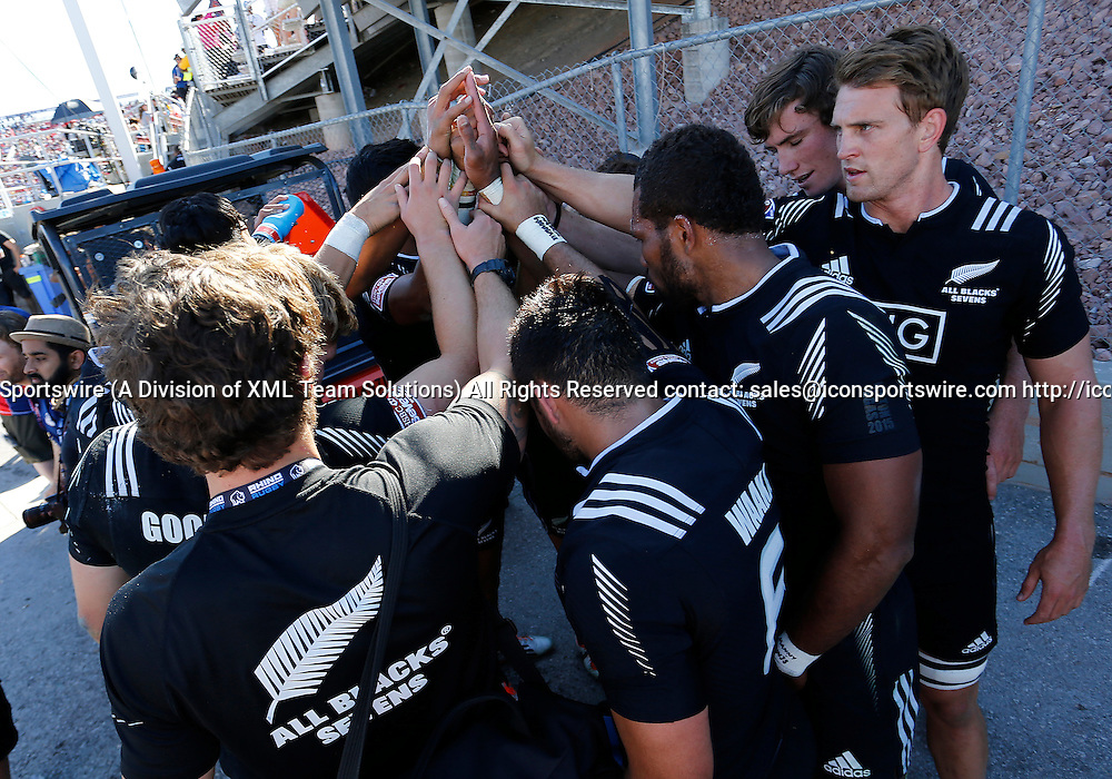 14 February 2015:  The New Zealand All Blacks during the USA Sevens Rugby Tournament between New Zealand and Fiji of the HSBC Sevens World Series, in Las Vegas, Nevada.  Fiji would defeat New Zealand 14-12.