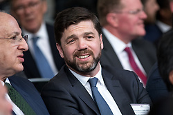 © Licensed to London News Pictures. 19/04/2017. London, UK. Former Secretary of State for Work and Pensions STEPHEN CRABB arrives at The Royal United Services Institute (RUSI) panel discussion on aid, security and broader British national interests. Photo credit : Tom Nicholson/LNP