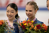 KELOWNA, BC - OCTOBER 26: Ladies gold medalist, Alexandra Trusova of Russia shows her medal on the ice during medal ceremonies of Skate Canada International held at Prospera Place on October 26, 2019 in Kelowna, Canada. (Photo by Marissa Baecker/Shoot the Breeze)