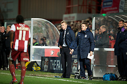 CHELTENHAM, ENGLAND - Monday, January 7, 2013: Everton's manager David Moyes and assistant Steve Round during the FA Cup 3rd Round match against Cheltenham Town at Whaddon Road. (Pic by David Rawcliffe/Propaganda)