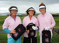 Margaret Harkin , Helen Costello and  Carmel Haverty from Mountbellew  Golf Club  at the Galway Golf Club for the AIB Ladies Irish Open Club Challenge qualifier..Photo:Andrew Downes