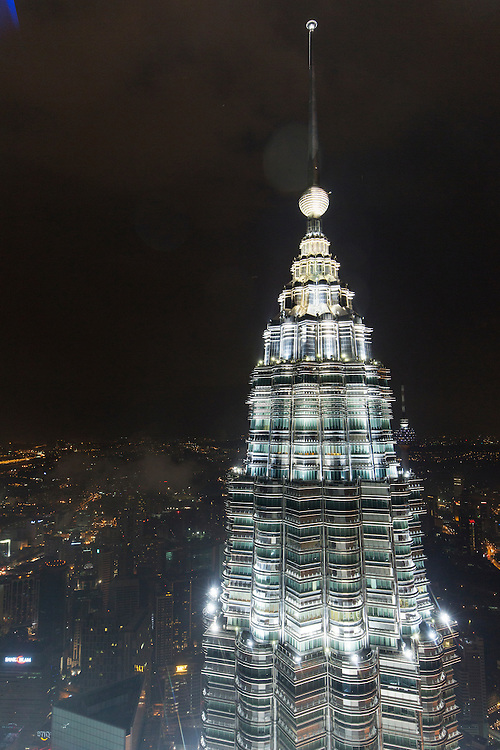 Asia, Malaysia, Kuala Lumpur, View from 86th Floor Observation Deck of Petronas Towers on rainy evening