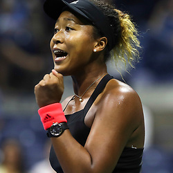 Naomi Osaka of Japan celebrate on Day 11 of the 2018 US Open Tennis Championships on September 6, 2018 in New York, United States. (Photo by Marek Janikowski/Icon Sport)