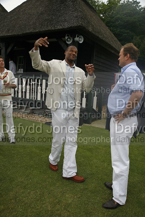 COLIN SALMON, Guy Leymarie and Tara Getty host The De Beers Cricket Match. The Lashings Team versus the Old English team. Wormsley. ONE TIME USE ONLY - DO NOT ARCHIVE  © Copyright Photograph by Dafydd Jones 66 Stockwell Park Rd. London SW9 0DA Tel 020 7733 0108 www.dafjones.com