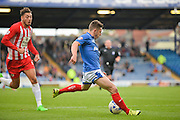 Conor Chaplin with a rare shot a goal during the Sky Bet League 2 match between Portsmouth and Accrington Stanley at Fratton Park, Portsmouth, England on 5 September 2015. Photo by Adam Rivers.