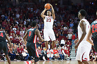 FAYETTEVILLE, AR - MARCH 4:  C.J. Jones #23 of the Arkansas Razorbacks shoots a jump shot against the Georgia Bulldogs at Bud Walton Arena on March, 2017 in Fayetteville, Arkansas.  The Razorbacks defeated the Bulldogs 85-67.  (Photo by Wesley Hitt/Getty Images) *** Local Caption *** C.J. Jones