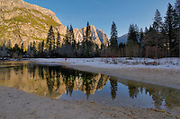 Reflections of Yosemite Falls. Image taken with a Nikon D3x and 14-24 mm f/2.8 lens (ISO 100, 14 mm, f/11, 1/3-1/80 sec). HDR composite of 5 images using Photomatix Pro.