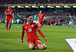 DUBLIN, IRELAND - Tuesday, October 16, 2018: Wales' Harry Wilson celebrates scoring the winning goal from a free-kick during the UEFA Nations League Group Stage League B Group 4 match between Republic of Ireland and Wales at the Aviva Stadium. Wales won 1-0. (Pic by Paul Greenwood/Propaganda)