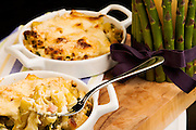 Asparagus and pancetta baked pasta