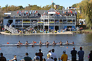 Boston, USA, Collegiate Men's Eights, University of Chicago, pass Cambridge Boat Club, at the Head of the Charles Race, Charles River, Cambridge,  Massachusetts. Saturday  21/10/2007 [Mandatory Credit Peter Spurrier/Intersport Images]..... , Rowing Course; Charles River. Boston. USA Cambridge Boat House