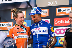 Podium with ALAPHILIPPE Julian of Quick-Step Floors and VAN DER BREGGEN Anna of Boels - Dolmans Cycling Team after the 2018 La Flèche Wallonne race, Huy, Belgium, 18 April 2018, Photo by Thomas van Bracht / PelotonPhotos.com | All photos usage must carry mandatory copyright credit (Peloton Photos | Thomas van Bracht)