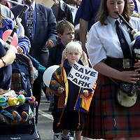 The Tayside Crescent Playpark Action Group in Aberfeldy  protesting over the closure of the childrens play areas by Perth and Kinross council<br /><br />Picture by John Lindsay<br />Copyright Perthshire Picture Agency<br />Tel: 01738 623350 / 07775 852112