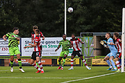 Forest Green Rovers Matty Stevens(9) heads the ball  during the EFL Trophy match between Forest Green Rovers and U21 Southampton at the New Lawn, Forest Green, United Kingdom on 3 September 2019.