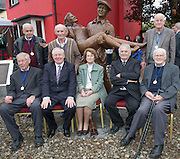 Back row Michael Moore,  Martin Noone and Joe Moore with Padraic Dowd, Minister Ring, Eileen Luskin, Jack Murphy and John McGrath  who were extras(bar minister) in the Quiet Man Film filmed in Cong 62 years ago in Cong village for an unveiling of a statue of the lead actors John Wayne and Maureeen O Hara. Picture:Andrew Downes