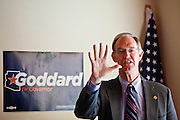 31 OCTOBER 2010 -  KINGMAN, AZ: Terry Goddard speaks at a Democratic gathering in Kingman. Goddard, and the other Democrats on the statewide ticket, campaigned in Window Rock and Kingman on Halloween. Goddard ended the day with a press conference in front of the Executive Office Tower at the State Capitol in Phoenix.  Goddard lost the election to sitting Governor Jan Brewer, a conservative Republican.     PHOTO BY JACK KURTZ
