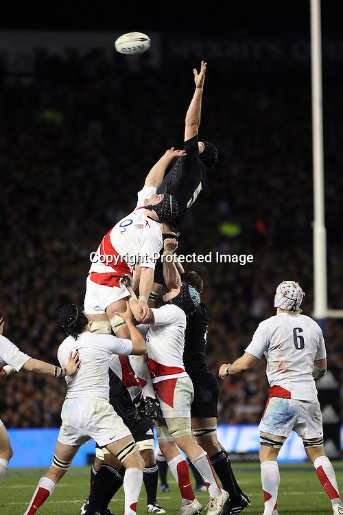 Ali Williams (R) contests at lineout time. Iveco Test match Series, All Blacks beat England 37-20, 1st Test, Eden Park, Auckland, Saturday 14 June 2008. Photo: Marc Weakley/PHOTOSPORT