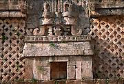MEXICO, MAYAN, YUCATAN Uxmal; Nunnery Quadrangle, thatched hut