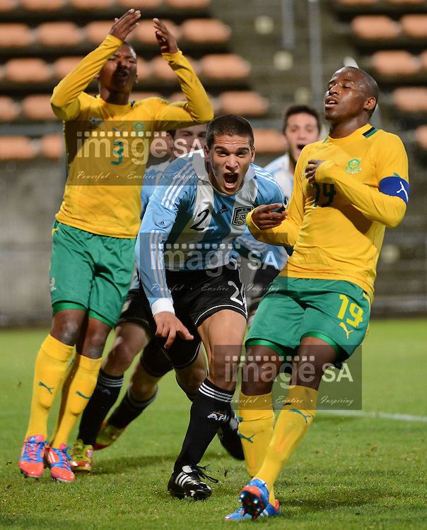 LISANDRO MAGALLAN of Argentina celebrates his goal after he headed the ball into the net (unseen) during the 8 Nations under 20 Football Challenge soccer match between South Africa and Argentina at Athlone stadium in Cape Town, South Africa..