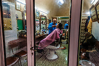 A barber shop in the Arab Souk, Old City, Jerusalem, Israel.