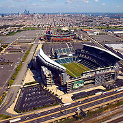 Aerial views of the Philadelphia Sports Venues; Lincoln Financial Field, home of the Eagles, Citizens Bank Park, home of the Phillies, The Wachovia Center, home of the  Flyers and 76ers, Comcast Spectrum, due to be torn down in spring of 2010, with the city skyline in background as seen on Sept. 29, 2009
