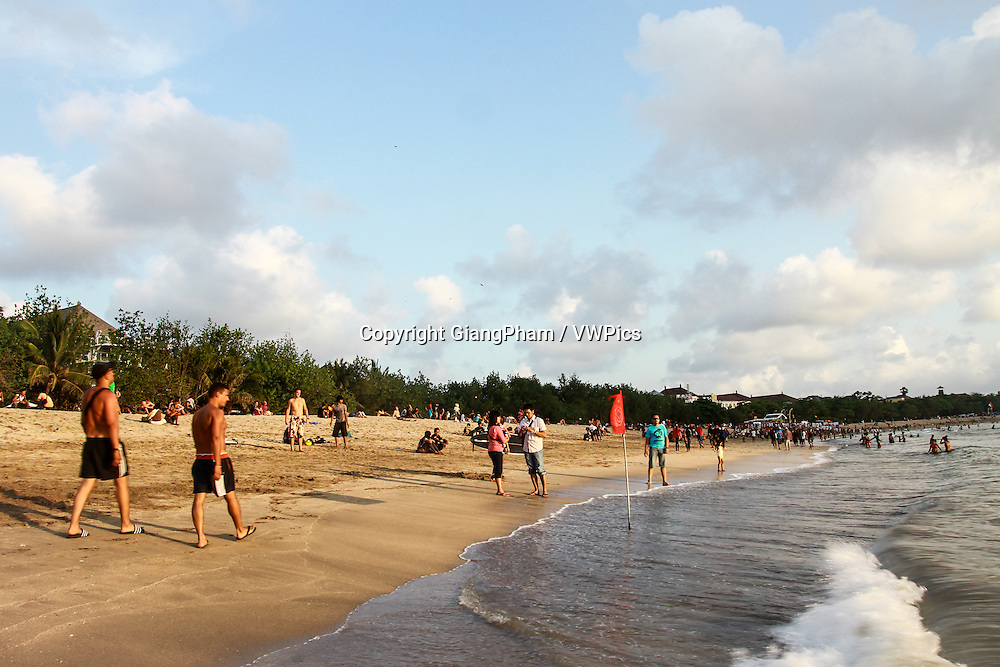 Life at late afternoon on Kuta Beach, Bali, Indonesia