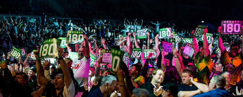 MELBOURNE, Australia - Sunday 20 August 2017:  The crowd react to a 180 group during the final of the Unibet Melbourne Dart Masters at Hisense Arena on Sunday 20 August 2017.<br /> <br /> Photo Credit: Tim Murdoch/Tim Murdoch Photography