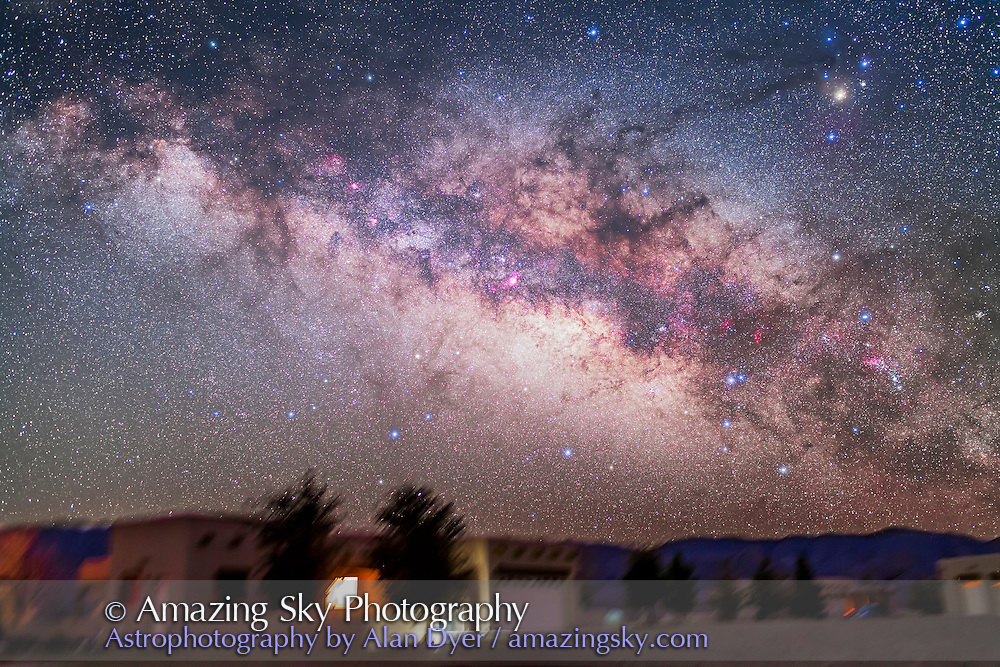 Sagittarius and Scorpius in the pre-dawn sky, March 15, 2013, from the Painted Pony Resort, New Mexico. This is a stack of 5 x 4 minute exposures at f/2.8 with the 35mm lens and Canon 5D MkII at ISO 1600, with the ground from one image, plus a stack of 2 exposures through the Kenko Softon filter for the star glows.