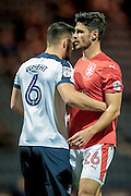 Huddersfield Town defender Christopher Schindler (26) marked by Bailey Wright (Preston North End) while waiting for a corner during the EFL Sky Bet Championship match between Preston North End and Huddersfield Town at Deepdale, Preston, England on 19 October 2016. Photo by Mark P Doherty.