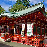 Honden of Otoshimioya Jinja at Shizuoka Sengen Jinja in Shizuoka, Japan<br /> A Shinto shrine typically consists of two primary buildings. The heiden is the offering or prayer hall positioned in front. Behind it is the honden. This sacred main hall is where the deity is enshrined. It is rarely open to the public and only entered by a Shinto priest. This is the honden of Otoshimioya Jinja. Inside is the go-shintai (sacred body) of the kami Otoshimioya, the god of business and economy. This nagare-zukuri style structure was rebuilt after a fire in 1804.