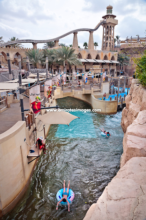 Wild Wadi water park in Dubai, connected to Jumeirah Beach Hotel and Burj Al Arab hotel