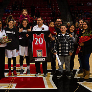 24 February 2018: The San Diego State women's basketball team closes out it's home schedule of the regular season Saturday afternoon against San Jose State. San Diego State Aztecs guard Geena Gomez (20) seen her in a senior ceremony prior to taking on San Jose State. At halftime the Aztecs lead the Spartans 36-33 at Viejas Arena.<br /> More game action at sdsuaztecphotos.com