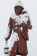 Middletown, New York - The fireman's statue during a snowstorm on Feb. 9, 2017.