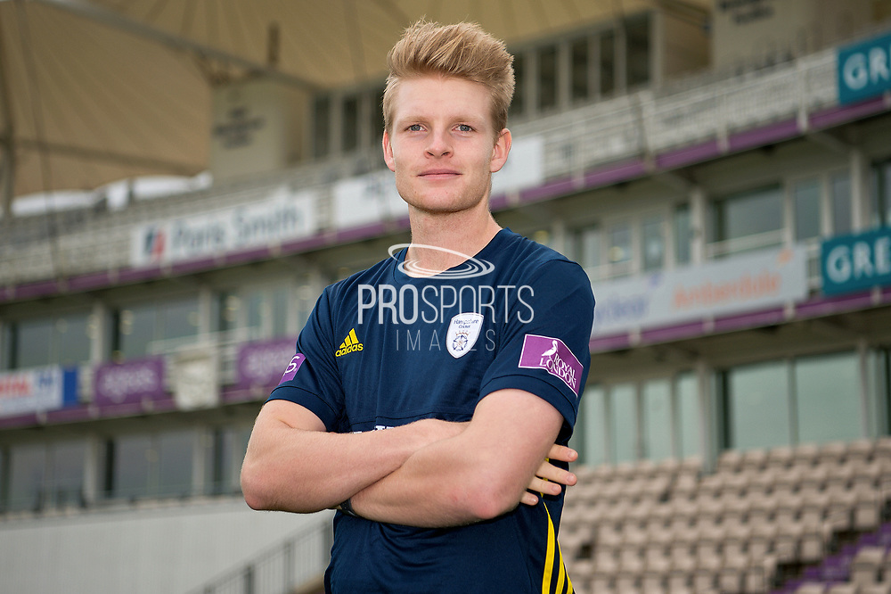Portrait of Brad Taylor in front of the pavilion during the Hampshire County Cricket Club Media Day at the Ageas Bowl, Southampton, United Kingdom on 10 April 2018. Picture by Dave Vokes.