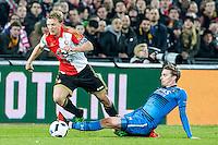 ROTTERDAM - Feyenoord - AZ , Voetbal , Seizoen 2015/2016 , Halve finales KNVB Beker , Stadion de Kuip , 03-03-2016 , tackle van AZ speler Ben Rienstra (r) op Speler van Feyenoord Dirk Kuyt (l)