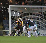 Ben Gordon (4) fires  home Alloa Athletic's 93rd minute equaliser - Dundee v Alloa Athletic, SPFL Championship at Dens Park<br /> <br />  - &copy; David Young - www.davidyoungphoto.co.uk - email: davidyoungphoto@gmail.com