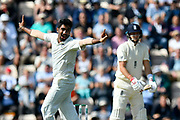 Not Out - Jasprit Bumrah of India appeals for an lbw against Joe Root of England but is no balled on review during the first day of the 4th SpecSavers International Test Match 2018 match between England and India at the Ageas Bowl, Southampton, United Kingdom on 30 August 2018.