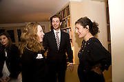 Lady Frances von Hofmannsthal; Rodolphe von Hofmannsthal; GINEVRA ELKANN;  Aatish Taseer  book launch party for his new book Stranger To History. Travel book asks what it means to be a Muslim in the 21st century. Hosted by Gillon Aitken. Kensington, London. 30 March 2009