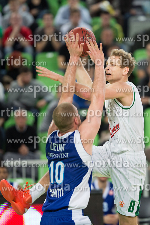 Jaka Blazic of Union Olimpija vs Maarten Leunen of Mapooro Cantu during basketball match between KK Union Olimpija and Mapooro Cantu (ITA) in 6th Round of Regular season of Euroleague 2012/13 on November 15, 2012 in Arena Stozice, Ljubljana, Slovenia. (Photo By Matic Klansek Velej / Sportida)