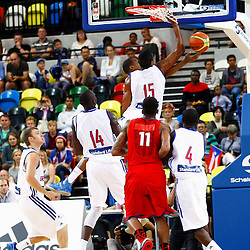 GB men vs Puerto Rico basketball at the Copper Box Arena. Kieron Achara (15) defensive block. 11/08/2013 (c) MATT BRISTOW