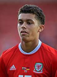 WREXHAM, WALES - Tuesday, September 10, 2019: Wales' Brennan Johnson lines-up before the UEFA Under-21 Championship Italy 2019 Qualifying Group 9 match between Wales and Germany at the Racecourse Ground. (Pic by David Rawcliffe/Propaganda)