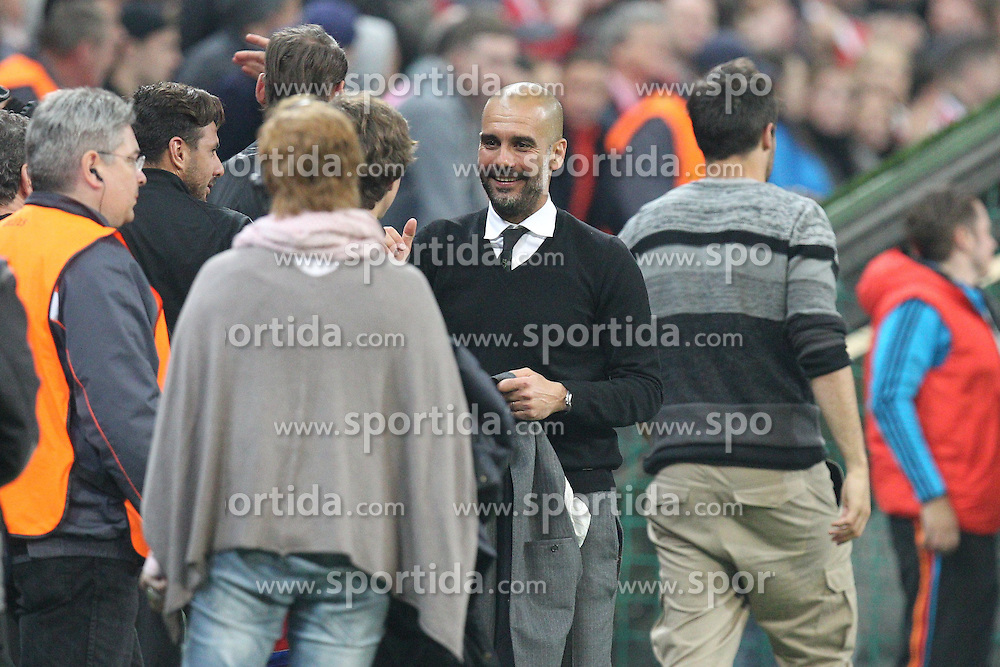 21.04.2015, Allianz Arena, Muenchen, GER, UEFA CL, FC Bayern Muenchen vs FC Porto, Halbfinale, R&uuml;ckspiel, im Bild Schlussjubel von Chef-Trainer Pep Guardiola (FC Bayern Muenchen) // during the UEFA Championsleague Semi Final 2nd Leg Match between FC Bayern Munich and FC Porto at the Allianz Arena in Muenchen, Germany on 2015/04/21. EXPA Pictures &copy; 2015, PhotoCredit: EXPA/ Eibner-Pressefoto/ Kolbert<br /> <br /> *****ATTENTION - OUT of GER*****