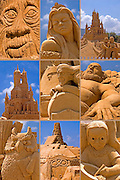 Collage of Sand sculptures from the sand sculpture festival on the Haifa beach, July 2006
