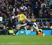 Australia's Bernard Foley making a break for the line during the Rugby World Cup Quarter Final match between Australia and Scotland at Twickenham, Richmond, United Kingdom on 18 October 2015. Photo by Matthew Redman.