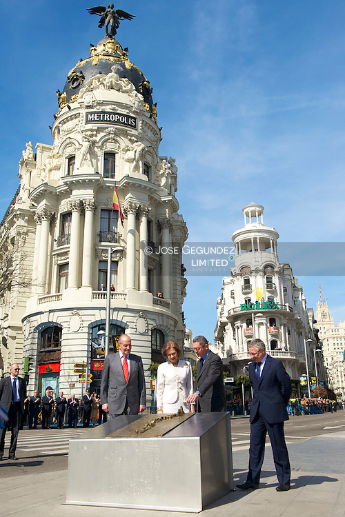 King Juan Carlos and Queen Sofia with the Mayor of Madrid Alberto Ruiz Gallardon and Development Minister Jose Blanco, attended the Central Events  of the commemoration of the centenary of the Gran Vía de Madrid