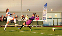 Melissa Lawley of Birmingham City Ladies gets one past Mary Earps of Bristol Academy Women - Mandatory by-line: Paul Knight/JMP - Mobile: 07966 386802 - 05/09/2015 -  FOOTBALL - Stoke Gifford Stadium - Bristol, England -  Bristol Academy Women v Birmingham City Ladies FC - FA Women's Super League